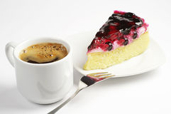 Coffee and piece of cake Stock Photos
