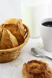 Coffee and pies on table Royalty Free Stock Photos