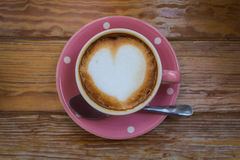 Coffee in pink cup. For free time Royalty Free Stock Photography