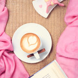 Coffee with pink scarf. Valentines concept. Rustic style. Flat l Royalty Free Stock Photography