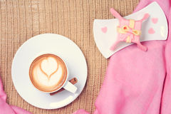 Coffee with pink scarf. Valentines concept. Rustic style. Flat l Royalty Free Stock Photo