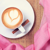 Coffee with pink scarf. Valentines concept. Rustic style. Flat l Royalty Free Stock Photos