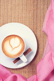Coffee with pink scarf. Valentines concept. Rustic style. Flat l Stock Photography