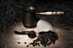 Coffee and pipe. Coffee-beans,still life Stock Photography