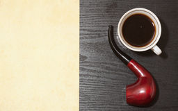 Coffee and pipe Royalty Free Stock Image