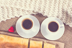 Coffee, plaid and cake. Stock Photos