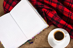 Coffee, plaid, cake and a notebook. Royalty Free Stock Photography