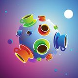 Coffee Planet. Colorful planet of coffee, with sun, moon and stars. Vector illustration royalty free illustration