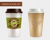 Coffee Plastic Covers Transparent Set Stock Photos