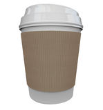 Coffee Plastic Cup Morning Java Drink Caffeine Blank Copy Space. A cup of coffee from a store or restaurant with a holder sleeve to help wake you up in the Stock Photos