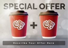 Coffee 1 plus 1 Banner Concept Grey Background. Vector EPS10 royalty free stock image