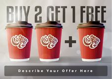 Coffee 2 plus 1 Banner Concept Grey Background. Vector EPS10 Stock Image