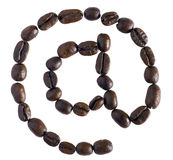 Coffee plus technology. Coffee beans in the shape of an @ sign, indicating coffee + technology (great for internet cafes royalty free stock photography
