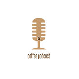 Coffee podcast with microphone and bean vector design. Template royalty free illustration
