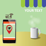 Coffee point. Mobilephone mug green Royalty Free Stock Images