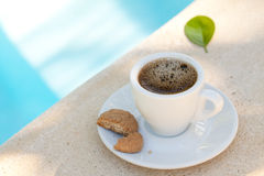 Coffee beside the pool Royalty Free Stock Images