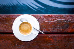 Coffee. By the pool in the morning Royalty Free Stock Photo