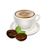 Coffee porcelain cup and coffee beans  on white Stock Photos