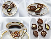 Coffee in porcelain elegant cup from the Riga coffee service Stock Photos