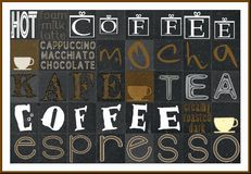Coffee poster. Background coffee concept with text Stock Photo