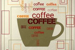 Coffee. Poster with  cup and text Stock Images
