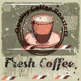 Coffee poster with coffee mug on a grunge retro background.  Royalty Free Stock Photo