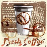 Coffee poster with coffee mug on a grunge retro background.  Stock Photos