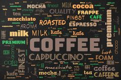 Coffee poster. Dirty old vintage retro coffee poster Stock Images