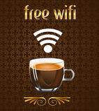 Coffee poster with free wifi message in vector eps Royalty Free Stock Image