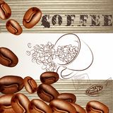 Coffee poster with frosted grains and wooden texture Royalty Free Stock Images
