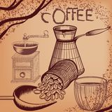 Coffee poster with hand drawn coffee mill, mug and coffee grains Royalty Free Stock Photo