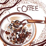 Coffee poster with hand drawn coffee mill in sketch style Stock Images