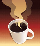 Coffee Poster. Illustration of a steaming hot coffee, ready to be savored Royalty Free Stock Image
