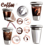 Coffee poster with mugs of coffee calligraphic signature in vint Stock Photos