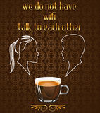 Coffee poster with Silhouette of couple talking in the cafe and no wifi message in vector eps10 Royalty Free Stock Image