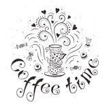 Coffee poster. Coffee time poster concept. Coffee party card design. Hand drawn doodle illustration with teapots, cups and sweets Stock Photos