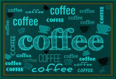 Coffee poster. Vintage dirty  scratched poster with coffee cups and text Royalty Free Stock Photo