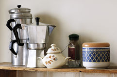 Coffee pot. Traditional Italian Coffe pot and Neopolitan Coffe pot on the shelf Stock Photos