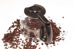 Coffee Pot. With coffee beans on a white background Stock Photo