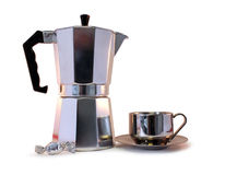Coffee Pot, Candy and Cup Royalty Free Stock Images