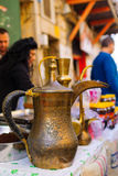 Coffee pot in a Christmas market Royalty Free Stock Photo