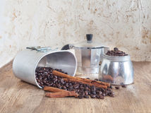 Coffee pot and coffee bean Stock Photography