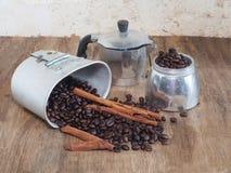 Coffee pot and coffee bean Stock Photo