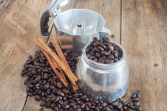 Coffee pot and coffee bean Stock Images
