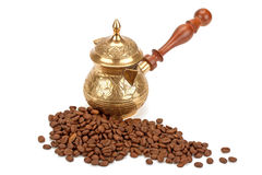 Coffee pot, coffee beans Royalty Free Stock Photo