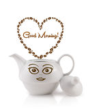 Coffee pot with coffee beans shaped heart with good morning sign Stock Photography