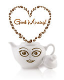 Coffee pot with coffee beans shaped heart with good morning sign Royalty Free Stock Images