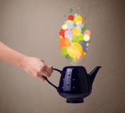 Coffee pot with colorful speech bubbles Royalty Free Stock Images