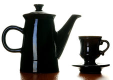 Coffee pot and cup Stock Photos