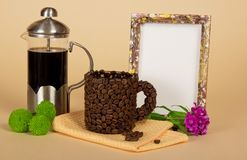 Coffee pot, cup, blank frame Royalty Free Stock Photos